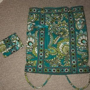 Vera Bradley drawstring bag and matching wallet.
